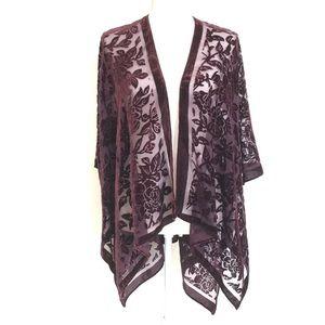 Woven Heart Floral Velvet Maroon Kimono
